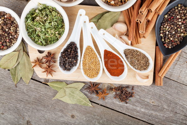 Colorful herbs and spices selection Stock photo © karandaev