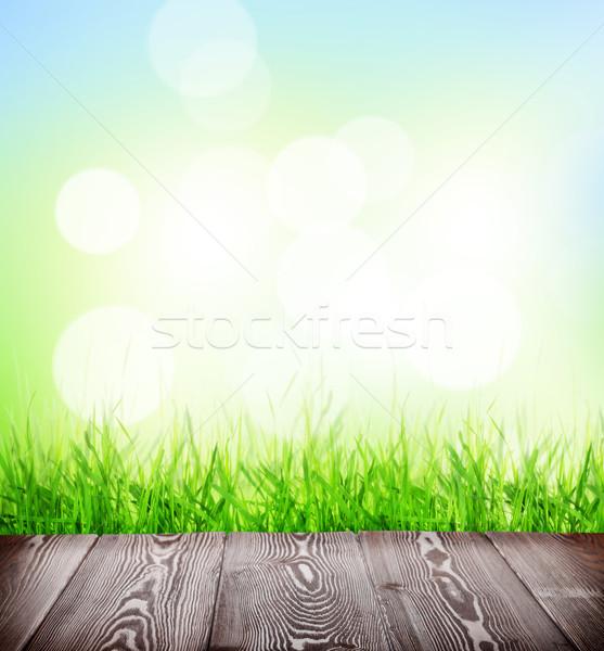 Sommer Stock Gras bokeh Holzboden grünen Gras Stock foto © karandaev
