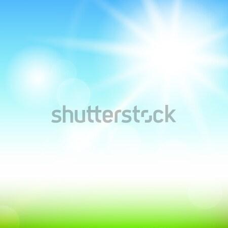 Blauwe hemel wolken groene veld zomer grunge Stockfoto © karandaev