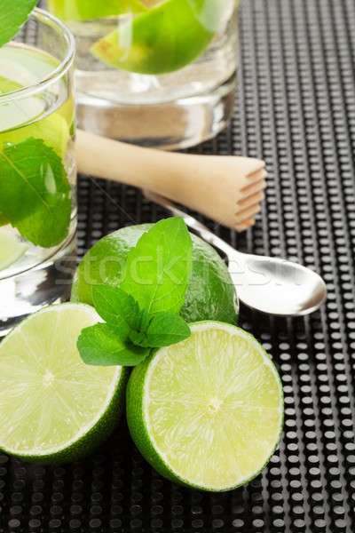 Mojito cocktail and ingredients Stock photo © karandaev