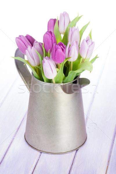 紫色 チューリップ 花束 じょうろ 木製のテーブル 花 ストックフォト © karandaev