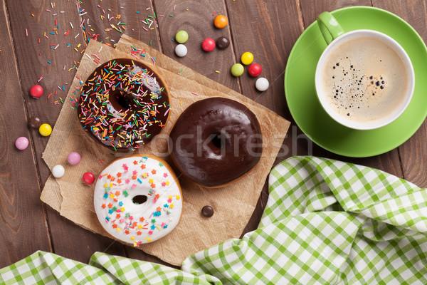Kahve ahşap masa üst görmek kâğıt Stok fotoğraf © karandaev