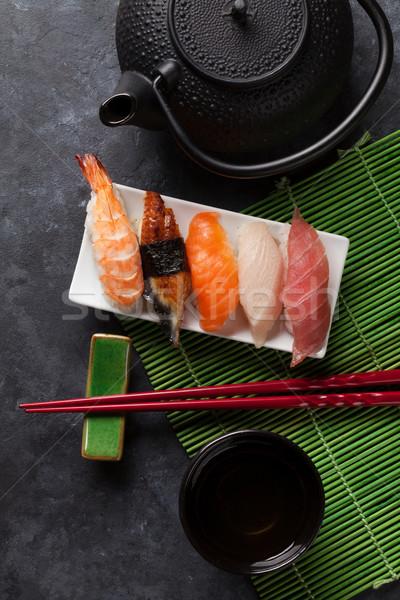 Conjunto sushi chá verde pedra tabela topo Foto stock © karandaev