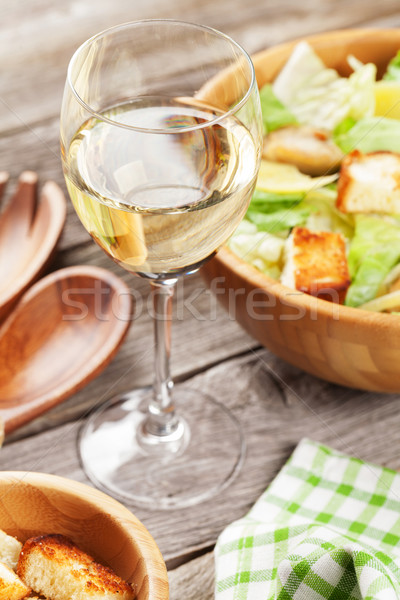 白ワイン ガラス シーザーサラダ 木製のテーブル ワイン 表 ストックフォト © karandaev
