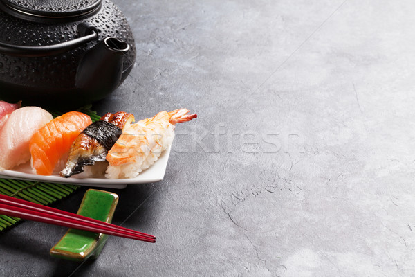 Szett szusi zöld tea kő asztal kilátás Stock fotó © karandaev