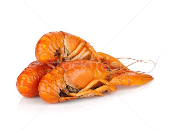 Stock photo: Three boiled crayfishes