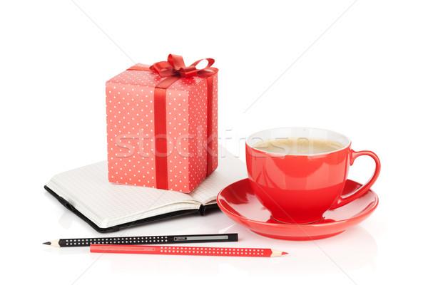 ストックフォト: コーヒーカップ · 赤 · ギフトボックス · 事務用品 · 孤立した · 白
