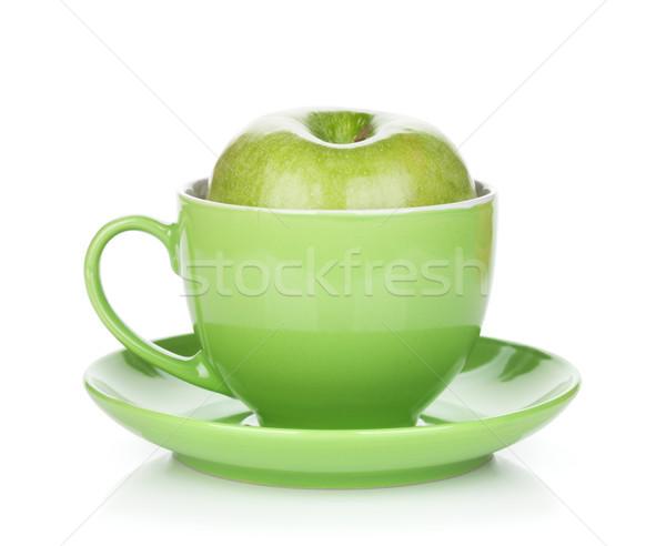 érett zöld alma teáscsésze izolált fehér Stock fotó © karandaev