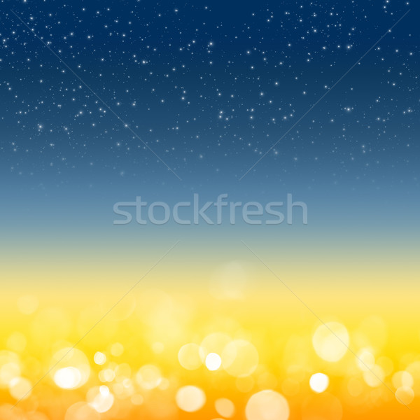 Nieba bokeh streszczenie tle gwiazdki niebieski Zdjęcia stock © karandaev
