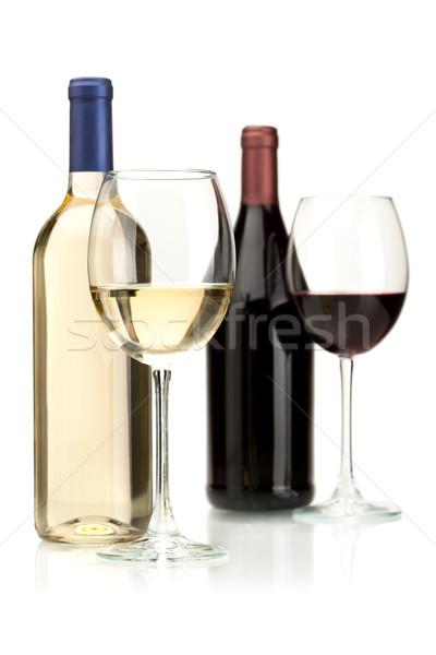Stockfoto: Witte · rode · wijn · bril · geïsoleerd · partij · wijn