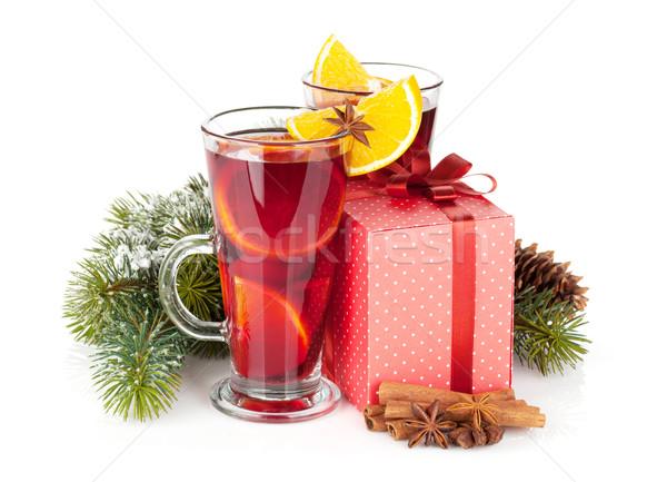 Stockfoto: Christmas · wijn · specerijen · geschenkdoos · geïsoleerd