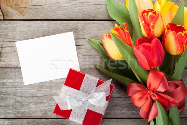 Stock foto: Frischen · farbenreich · Tulpen · Geschenkbox · Grußkarte · Holz