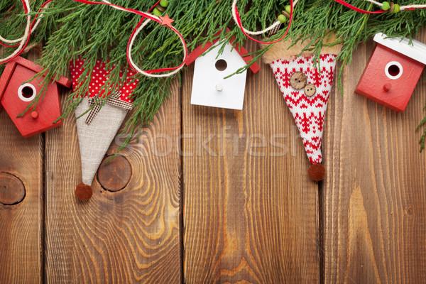 Karácsony fenyőfa dekoráció rusztikus fa deszka copy space Stock fotó © karandaev