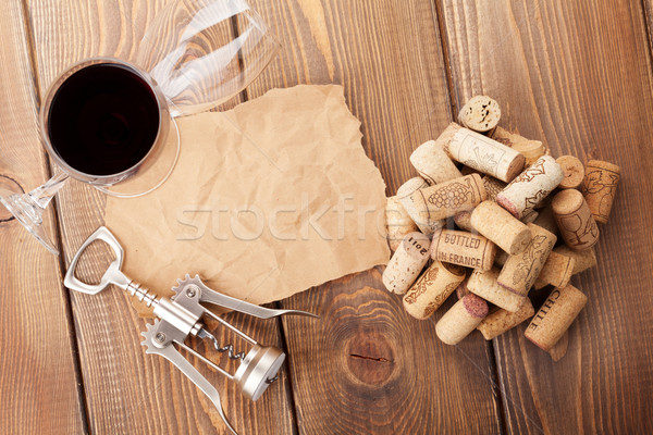 Wine glasses, corks, corkscrew and piece of paper Stock photo © karandaev