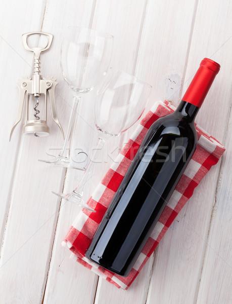 бутылку очки штопор белый деревянный стол Сток-фото © karandaev