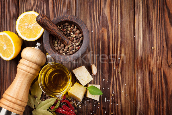 Various spices on wooden background Stock photo © karandaev