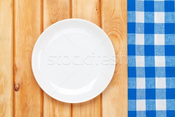 Stock fotó: üres · tányér · törölköző · fa · asztal · felülnézet · copy · space