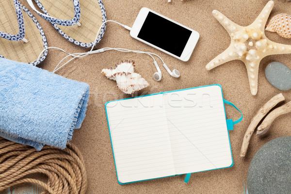 Stok fotoğraf: Notepad · deniz · kum · denizyıldızı · kabukları