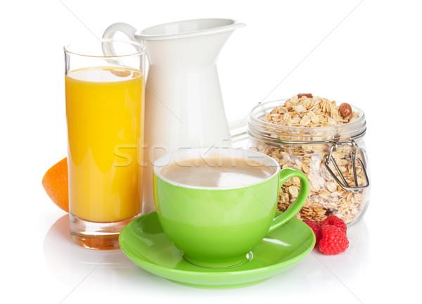 健康 朝食 ミューズリー 孤立した 白 コーヒー ストックフォト © karandaev