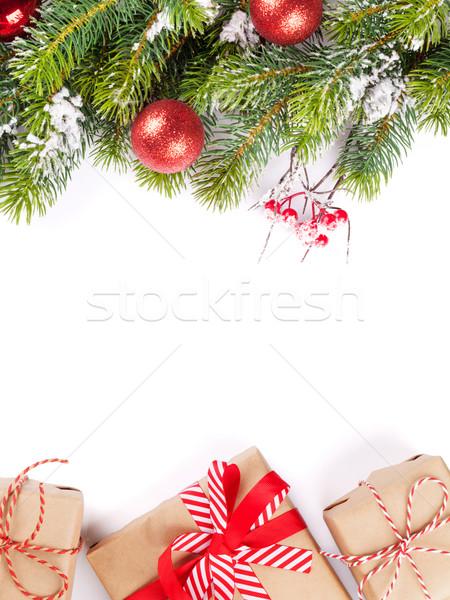 Stock fotó: Karácsonyfa · ág · ajándékdobozok · hó · izolált · fehér