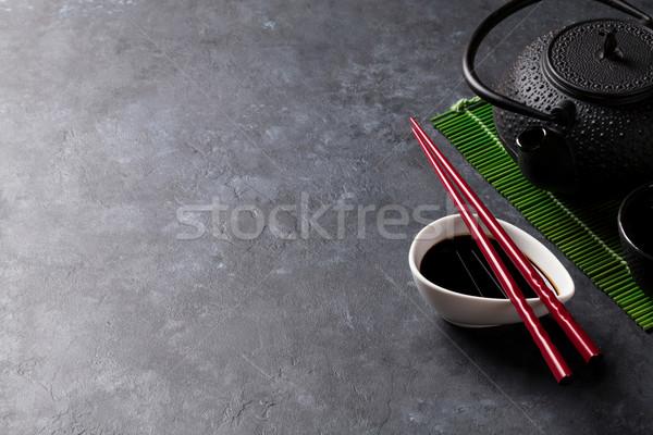 Yeşil çay sushi Çin yemek çubukları taş tablo görmek Stok fotoğraf © karandaev