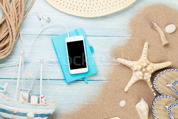 Notepad ahşap denizyıldızı kabukları ahşap masa Stok fotoğraf © karandaev