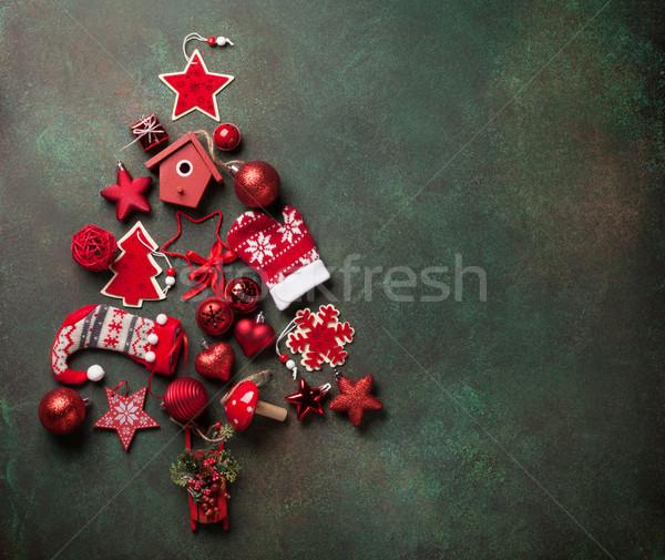 Karácsony dekoráció fenyőfa forma kő asztal Stock fotó © karandaev