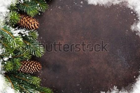 Photo stock: Noël · neige · pierre · haut · vue