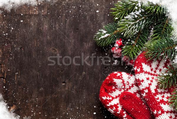 Noel eldiveni eski ahşap doku Stok fotoğraf © karandaev