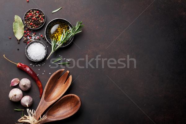 Stock fotó: Főzés · asztal · gyógynövények · fűszer · kellékek · felső