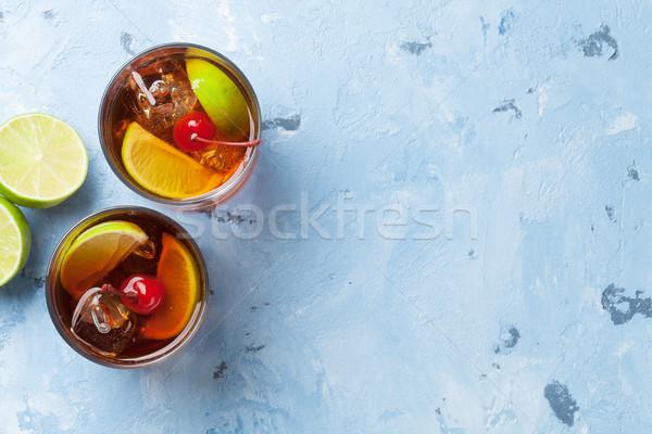 Cuba cocktail verres haut vue espace de copie Photo stock © karandaev