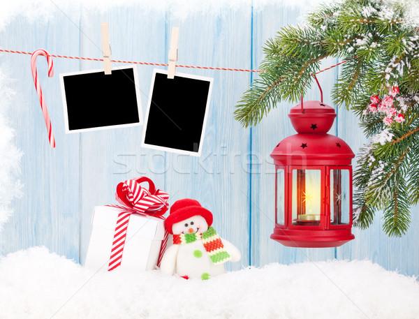 Natal vela lanterna caixa de presente fotos foto Foto stock © karandaev