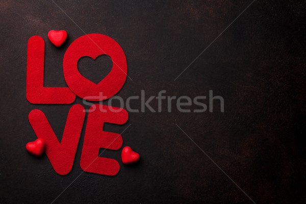 Stock photo: Valentines day greeting card with love word
