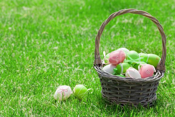 Easter eggs basket Stock photo © karandaev
