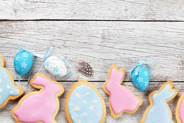 Easter gingerbread cookies and eggs Stock photo © karandaev
