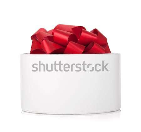 Stockfoto: Geschenkdoos · boeg · geïsoleerd · witte · ontwerp