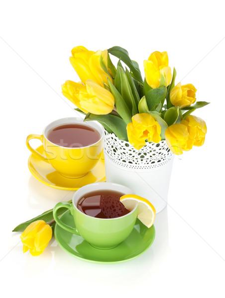 Stock foto: Gelb · Tulpen · Tee · Zitrone · isoliert · weiß