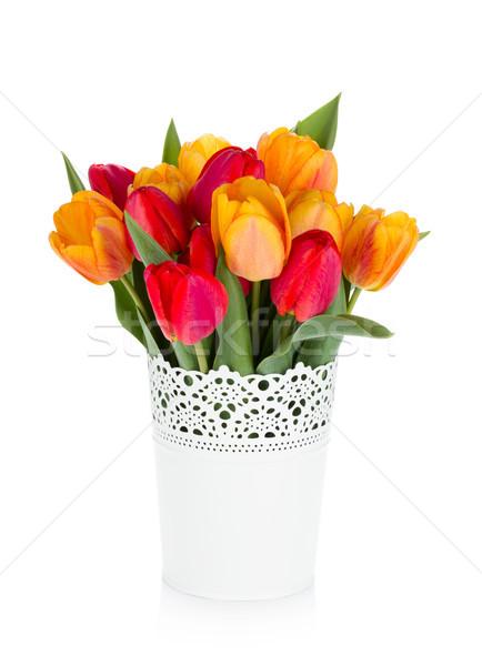 Red and orange tulips in flowerpot Stock photo © karandaev