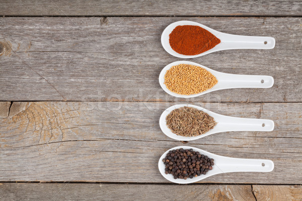 Stockfoto: Kleurrijk · kruiden · specerijen · aromatisch · ingrediënten · houten · tafel