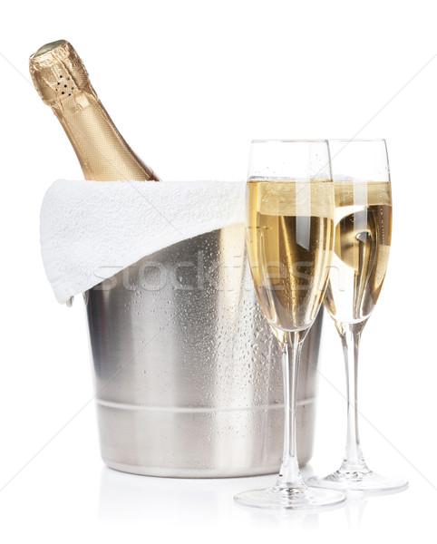 ストックフォト: シャンパン · ボトル · 2 · 眼鏡 · 氷 · バケット