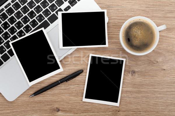 Blank instant photo frames over office table Stock photo © karandaev