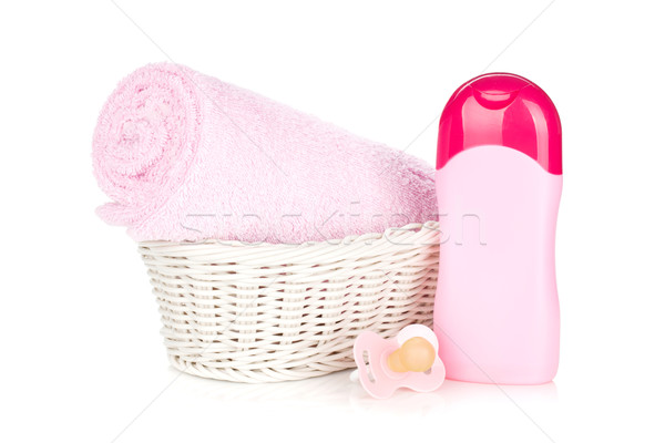 Baby shampoo, pacifier and towel for girl Stock photo © karandaev