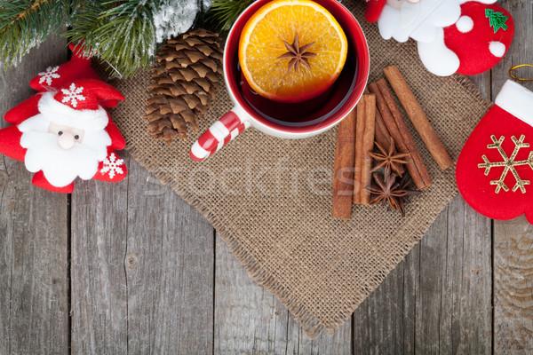 Christmas mulled wine with fir tree and decor Stock photo © karandaev