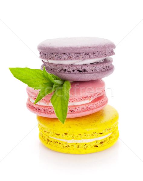 Coloré macaron cookies isolé blanche alimentaire Photo stock © karandaev