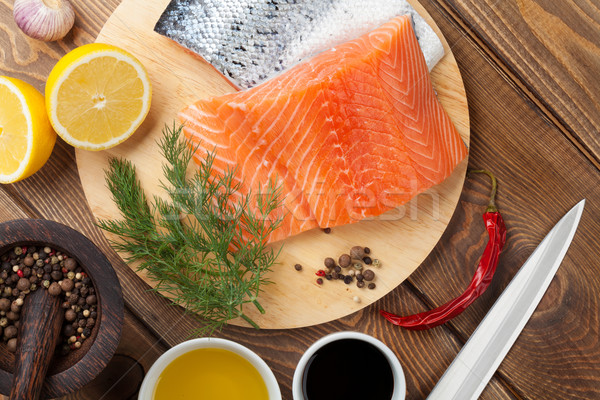 Salmon, spices and condiments Stock photo © karandaev