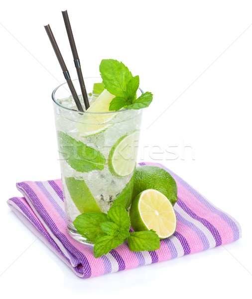 Fresh mojito cocktail and limes with mint Stock photo © karandaev