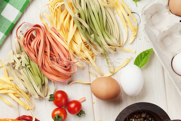 Pasta cooking ingredients and utensils Stock photo © karandaev