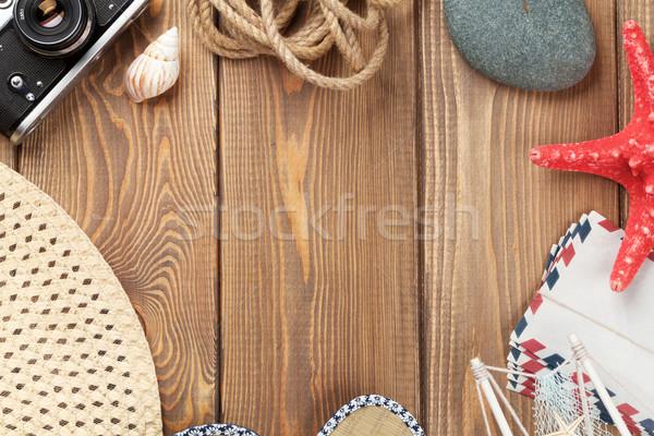 Reizen vakantie houten tafel top exemplaar ruimte Stockfoto © karandaev