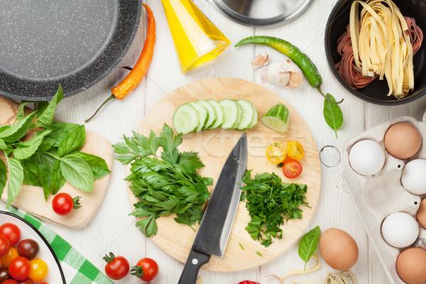 Сток-фото: пасты · приготовления · Ингредиенты · деревянный · стол · Top