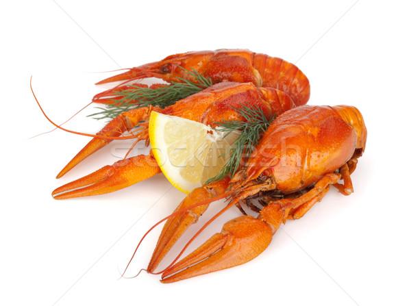 Boiled crawfishes with lemon slice and dill Stock photo © karandaev
